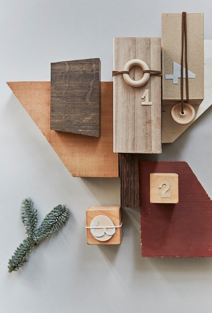 Arrangement of various wooden offcuts and numbers