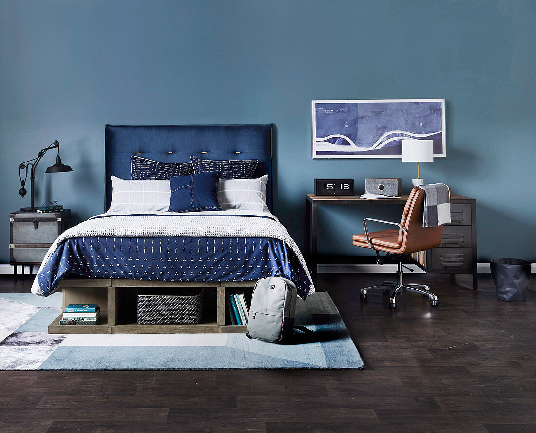Double Bed With Blue Headboard Next To Buy Image 12688142 Living4media