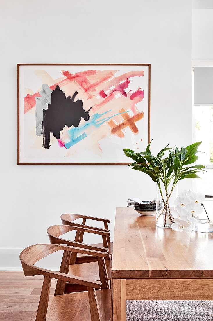 Abstract Painting Above Modern Wooden Buy Image 13168652 Living4media
