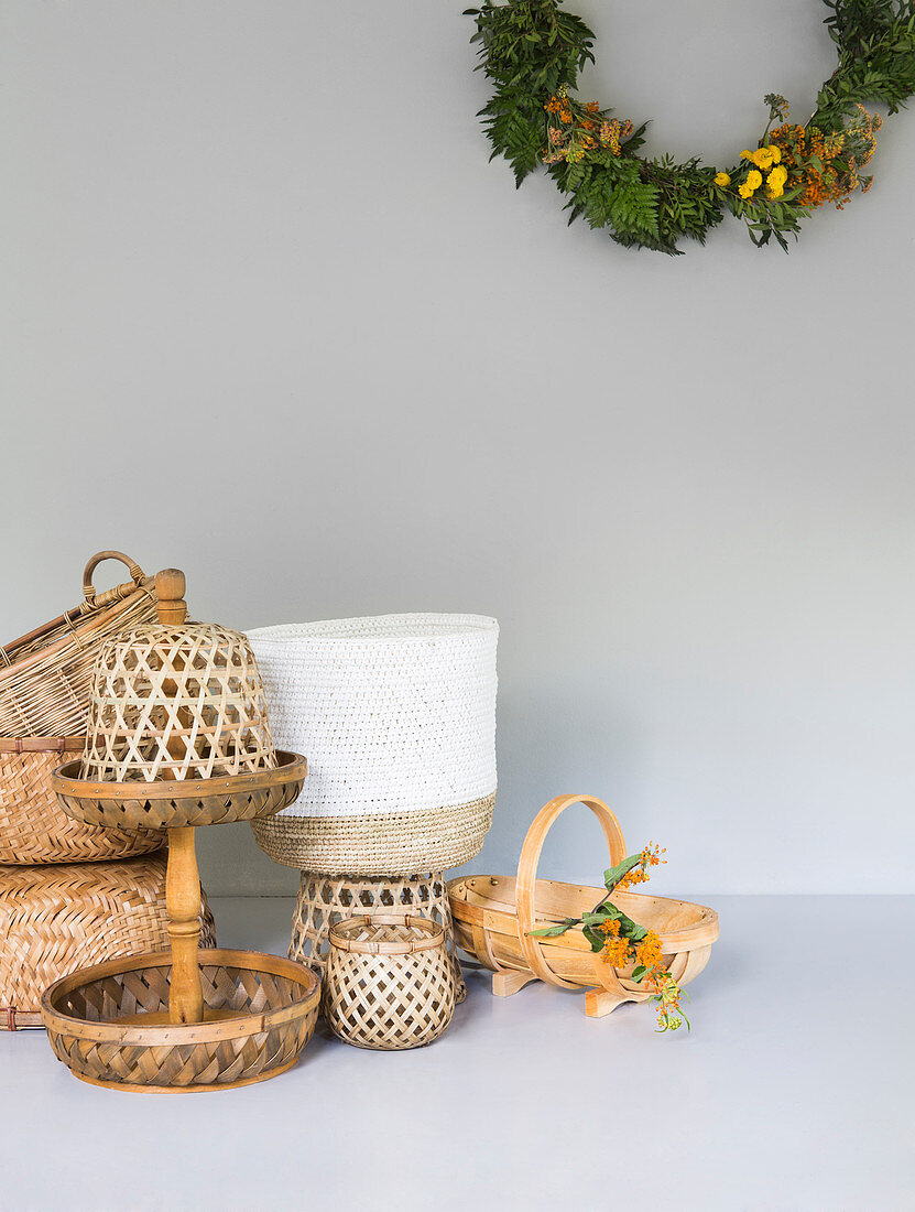 Fruit stand and baskets made from various materials