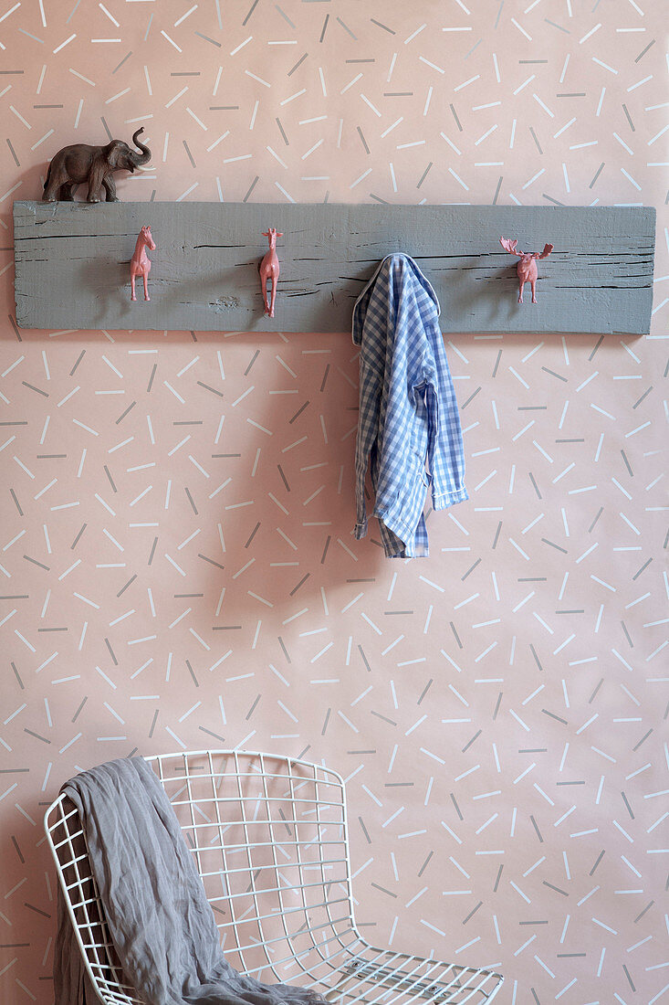 Handmade coat rack with hooks made from animal figurines