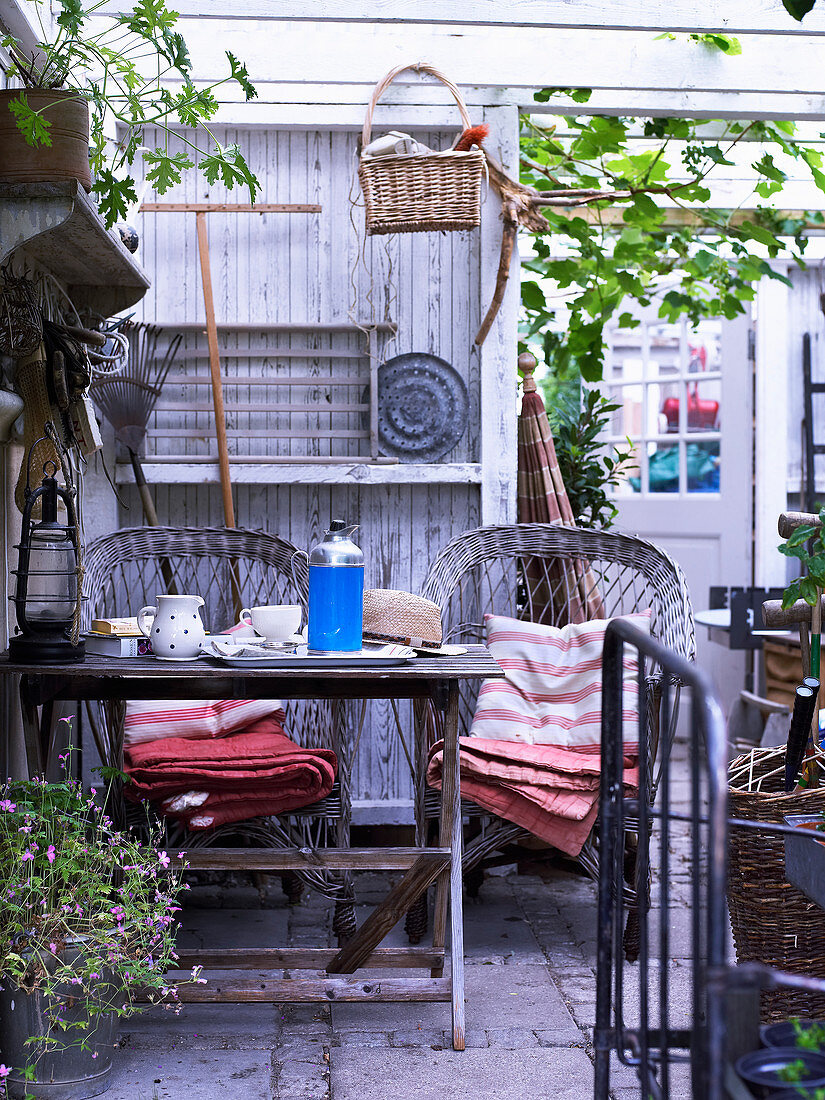Small seating area on roofed veranda