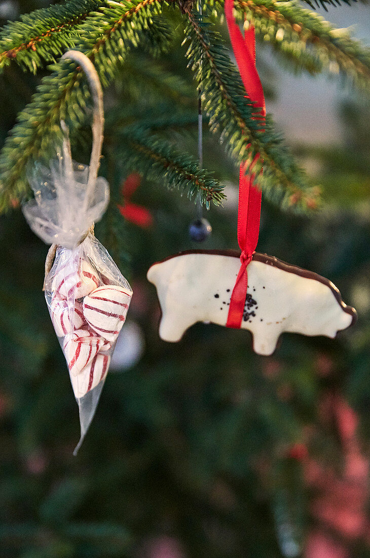 Sweets in organza sachet and decoration in shape of pig hung on Christmas tree