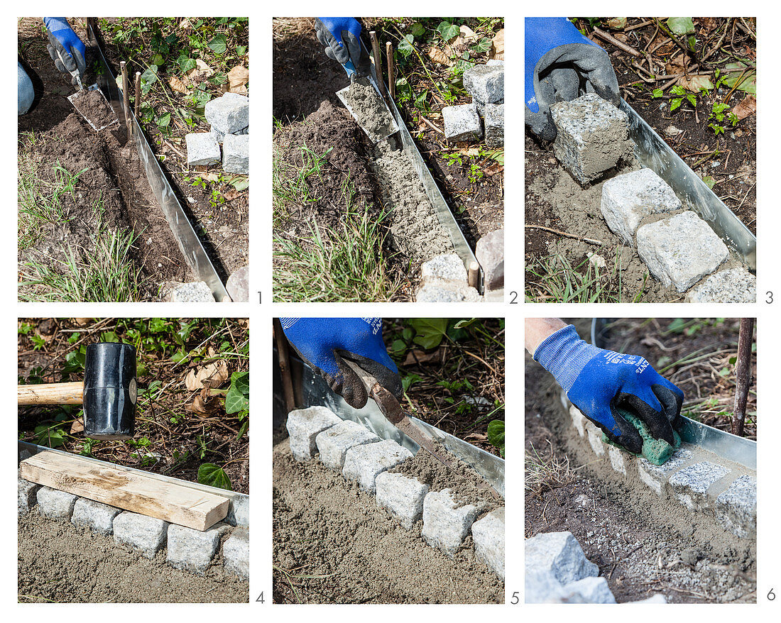 Instruction for making DIY metal and stone edging around flowerbed