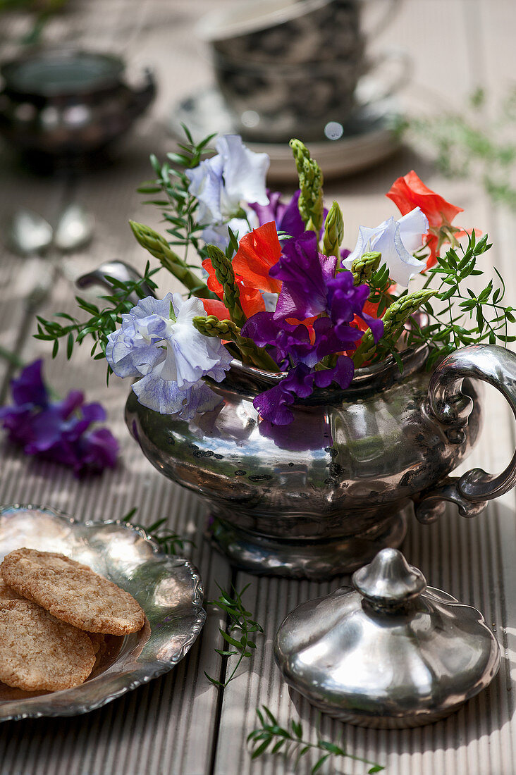 Colourful bouquet of sweet peas and green asparagus in old silver teapot and plate of biscuits