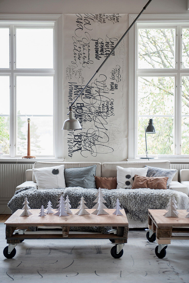 Pallet coffee tables in wintry living room