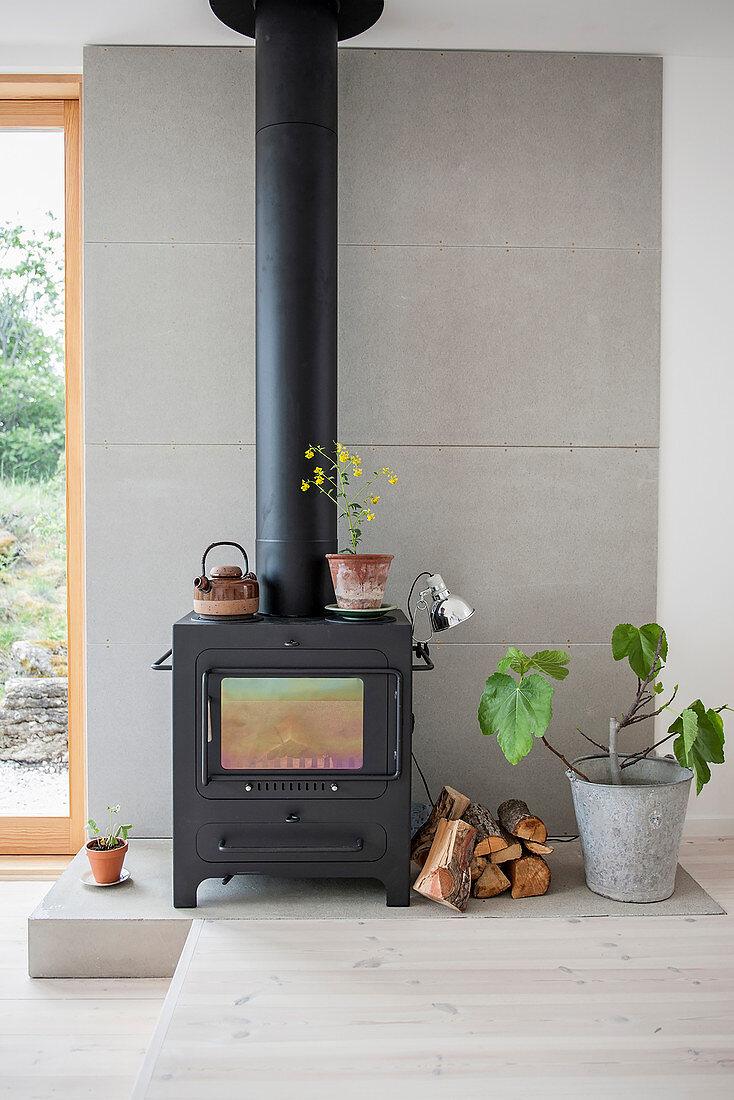 Wood-burner and fig tree on platform against grey wall