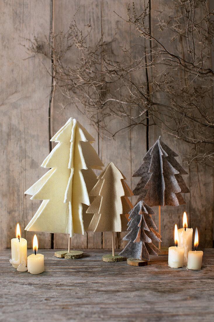 Small, handmade felt Christmas trees