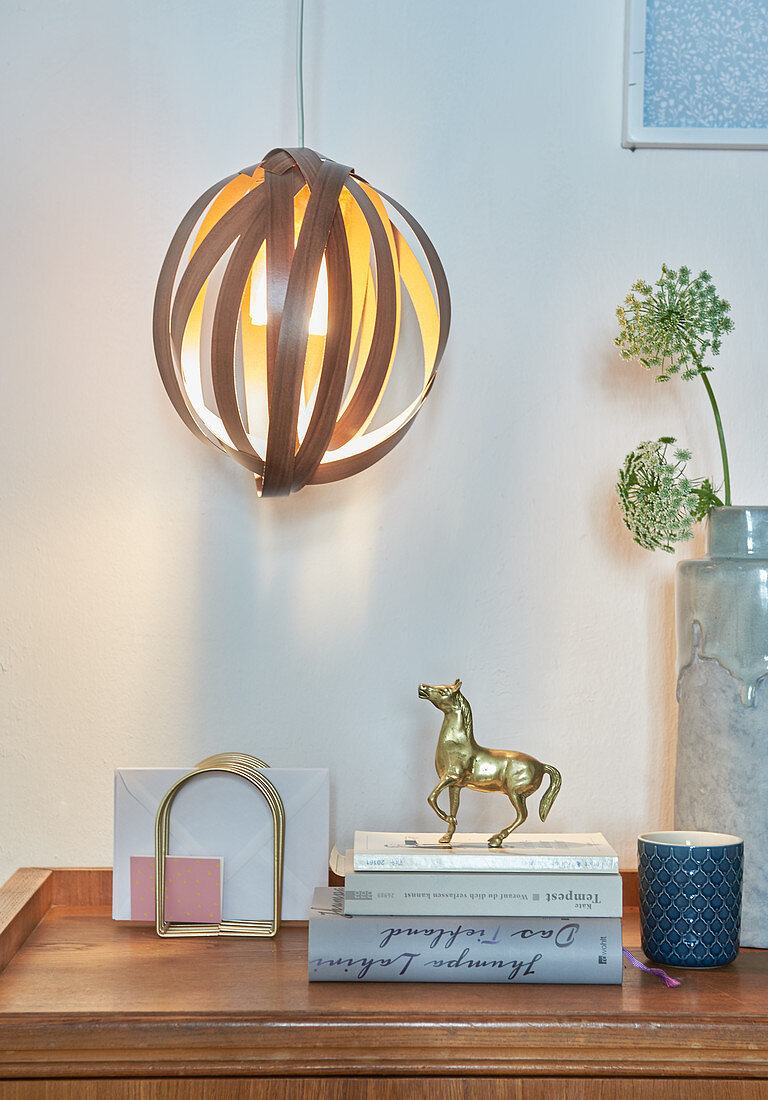 Decorative DIY lampshade made from edging strips