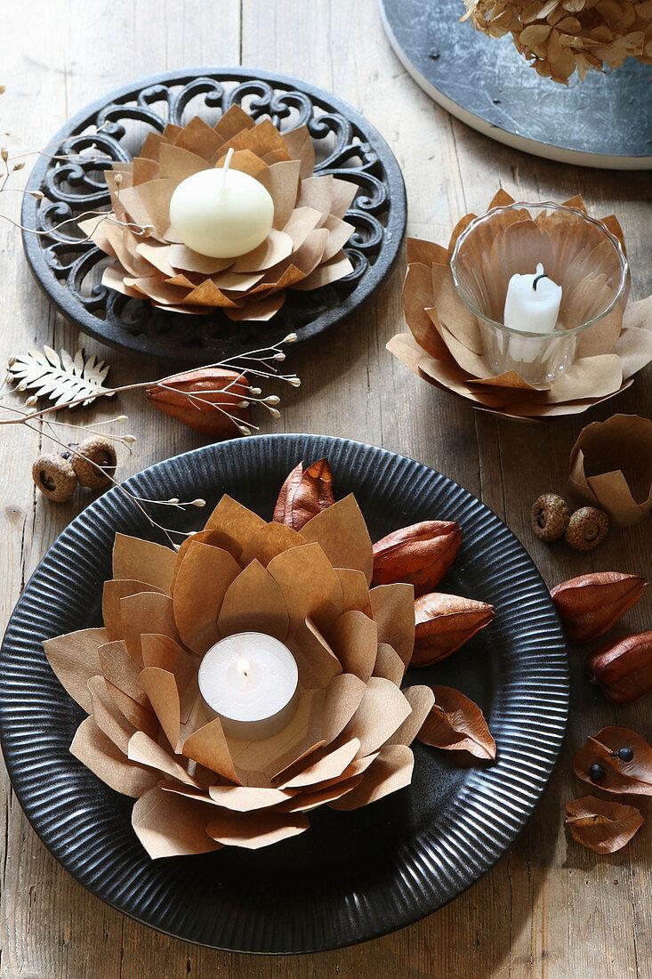 Tealights in handmade brown paper artichoke flowers