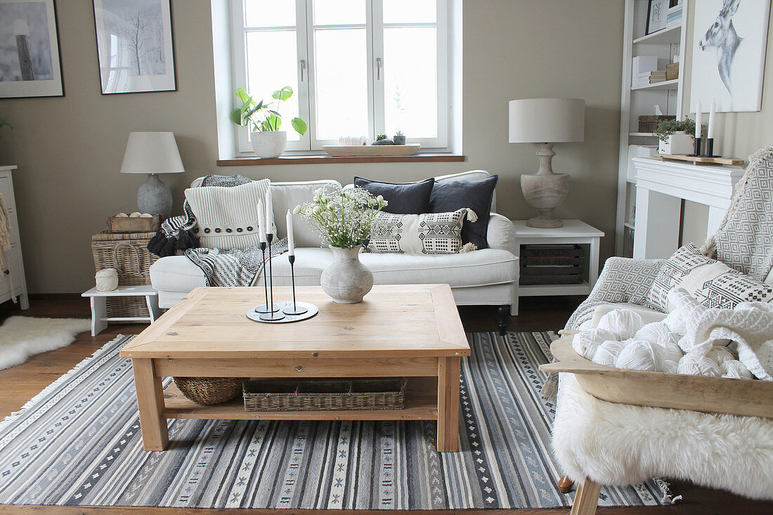 Scandinavian-style living room in natural shades