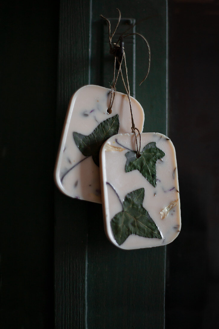 Handmade scented wax tablets with dried ivy leaves