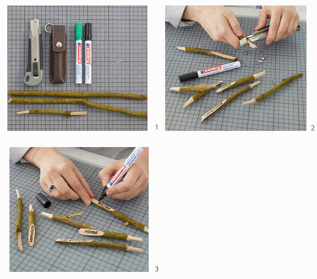 Instructions for making plant labels from whittled sticks