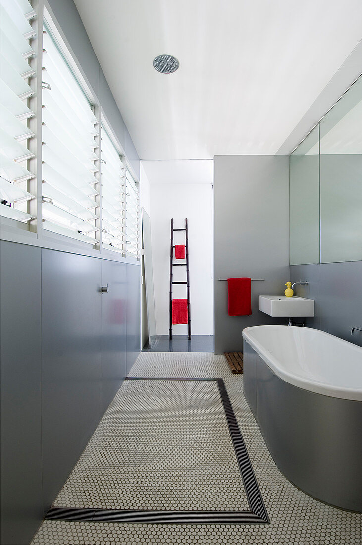 Monochrome Modern Bathroom In Grey And Buy Image 12999816 Living4media