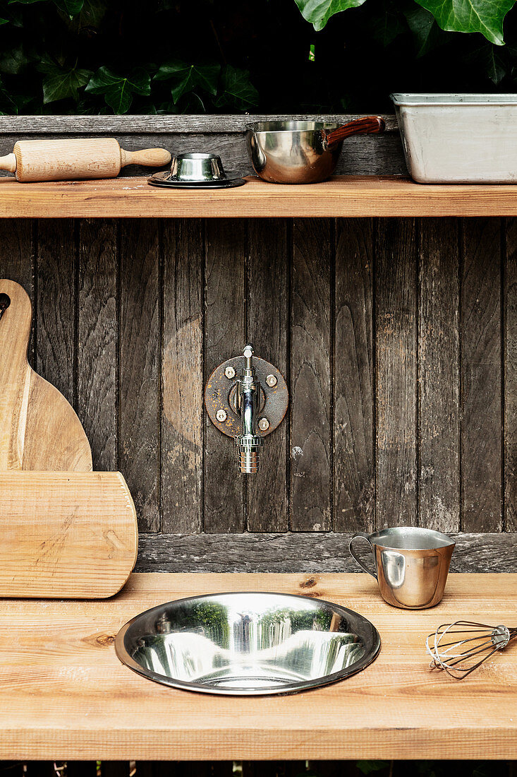 Tap and sink in DIY outdoor play kitchen