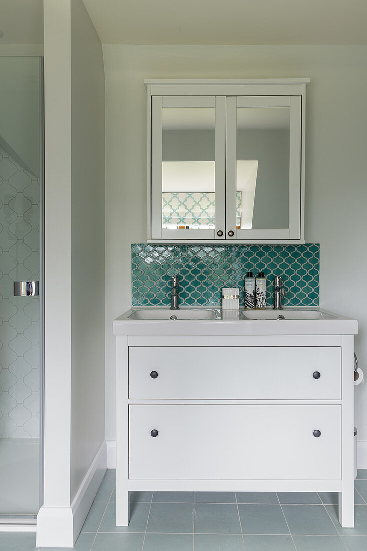 Washstand Below Mirrored Wall Cabinet In Buy Image 13006222 Living4media