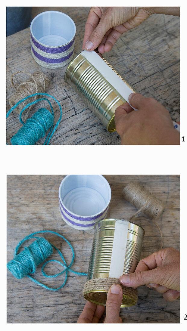 Anleitung für das Bekleben einer Konservendose mit Schnur