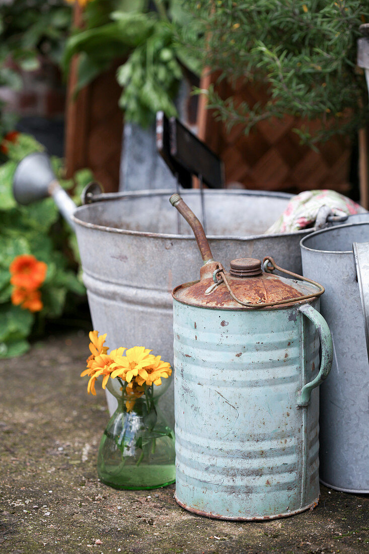Bouquet of marigolds next to old oil can and zinc bucket