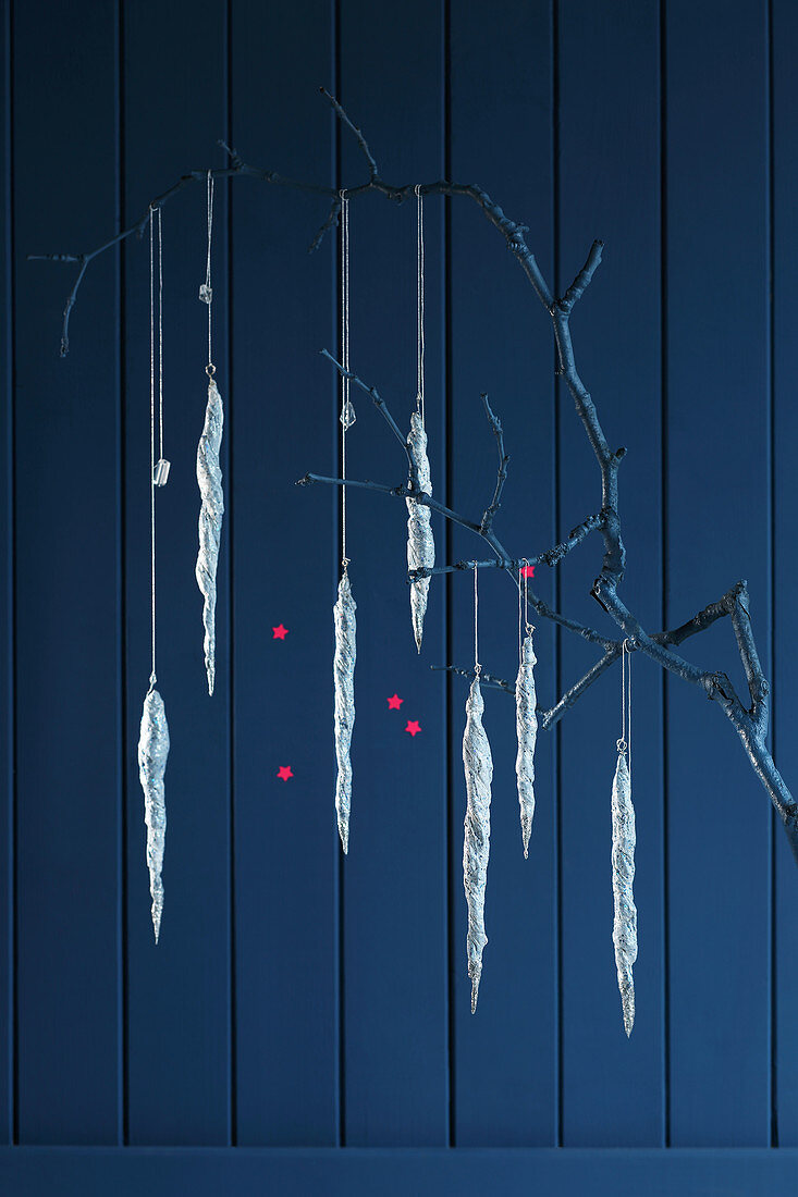 Wintry icicle decorations handmade from papier-mâché