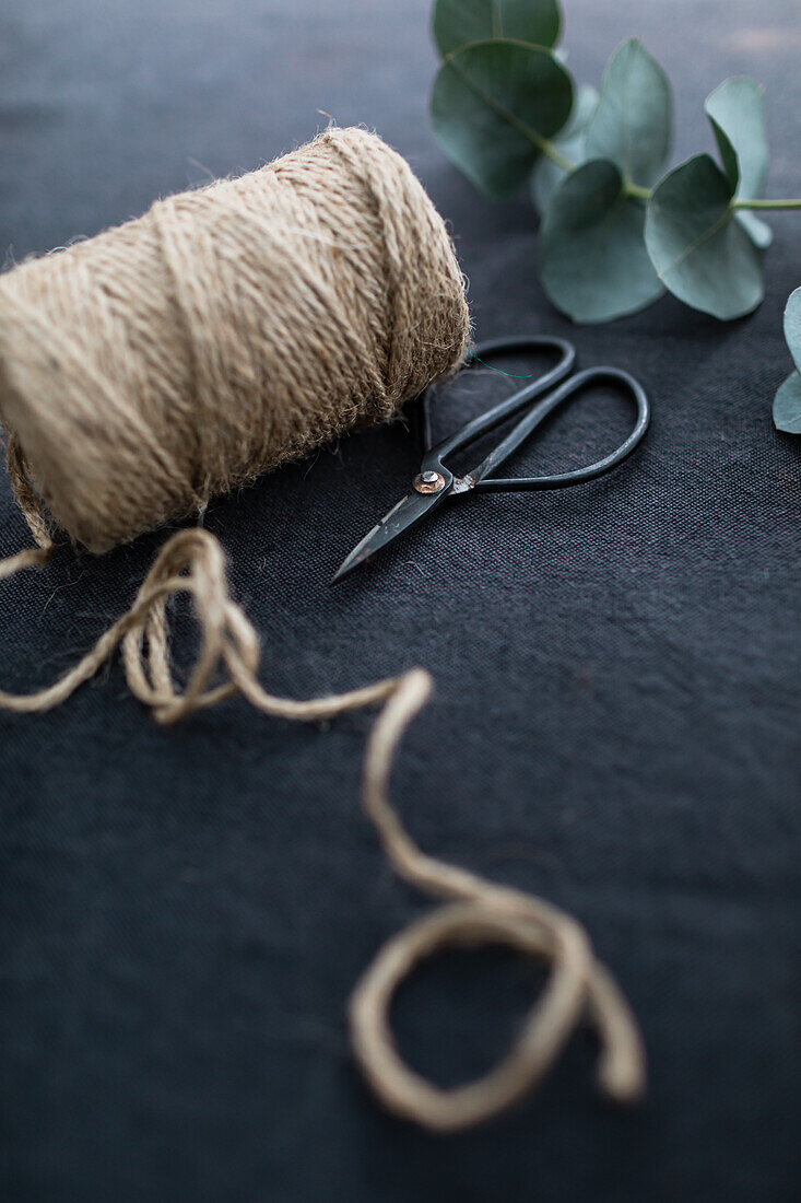 Twine, scissors and eucalyptus branch on a dark surface