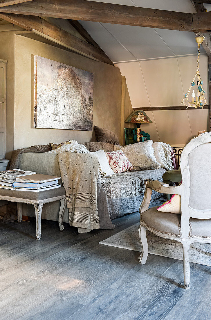 Shabby-chic living room decorated in shades of grey