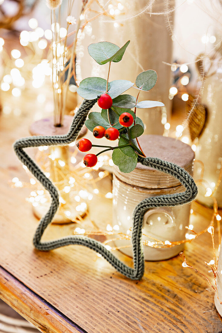 Star made from wire and knitted cord decorated with eucalyptus leaves and berries
