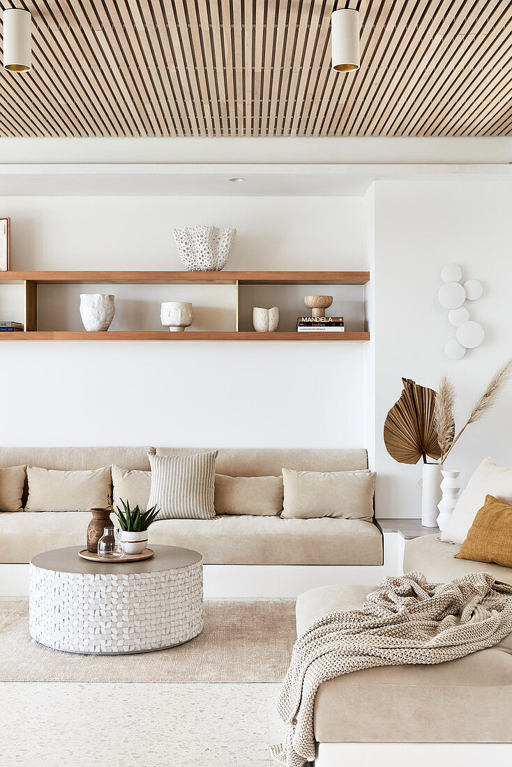 Beige and white, Bohemian-style living room