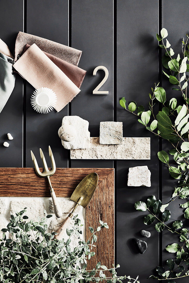 Mood board for the garden on grey floorboards