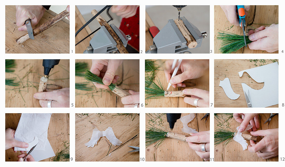 Instructions for making angels made from wood, paper wings and pine-needle hair