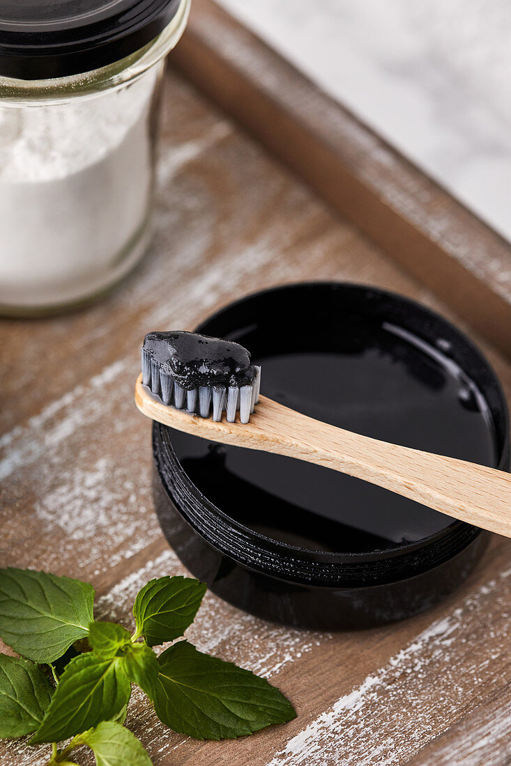 Handmade, natural toothpaste with activated charcoal