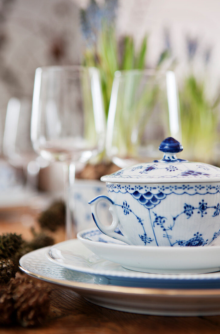 Blue-and-white soup bowl with lid