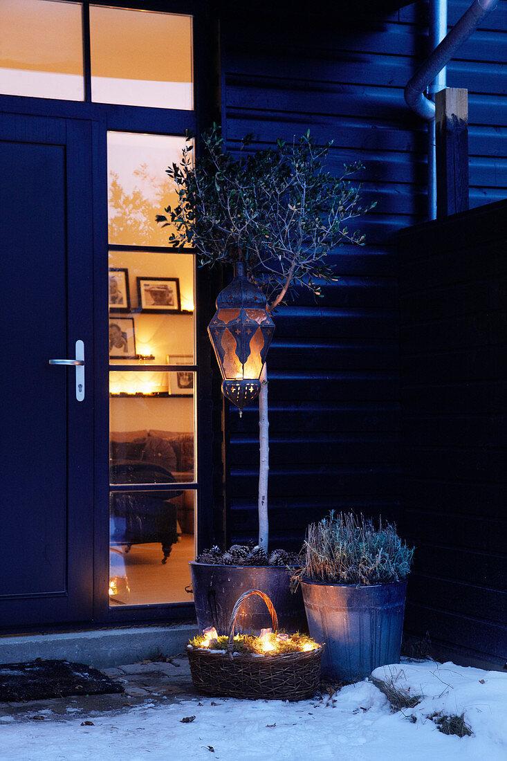 Winter arrangement next to front door