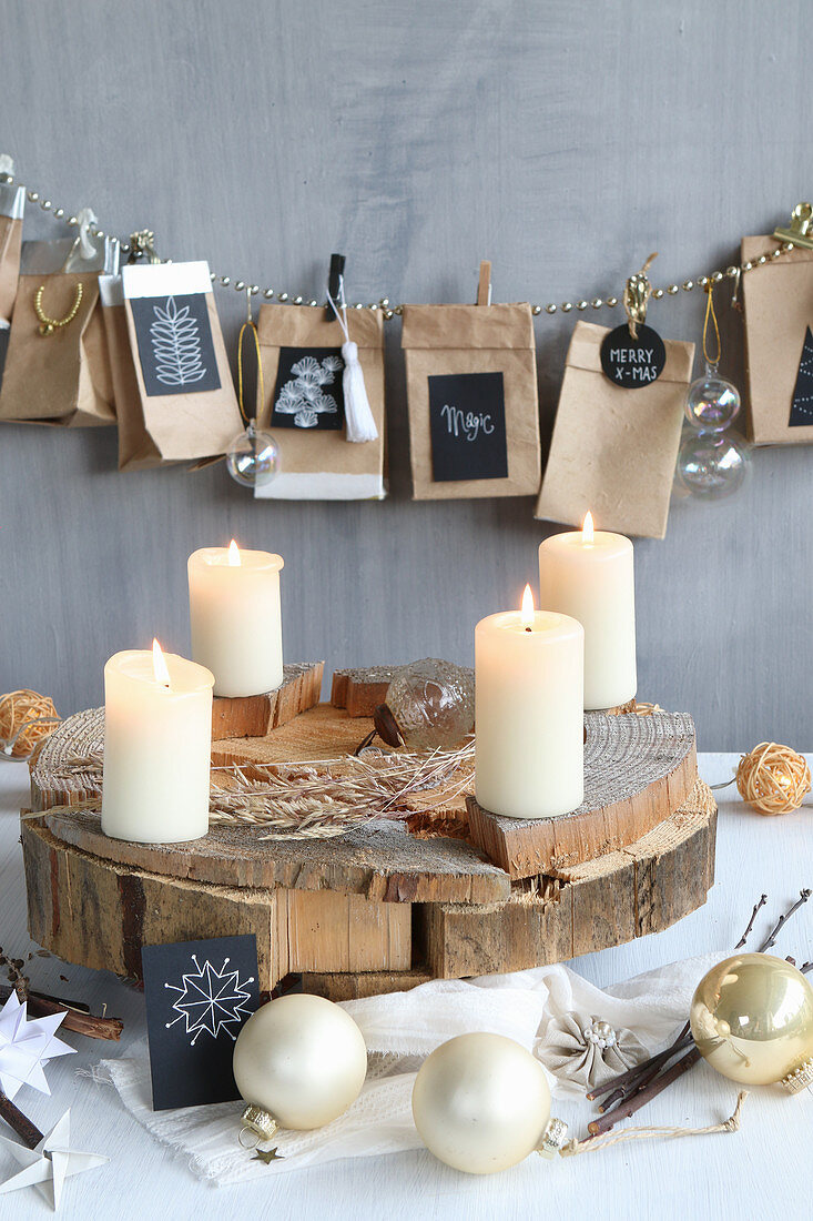 DIY Advent calendar made from tetra paks and DIY Advent wreath on wooden disc