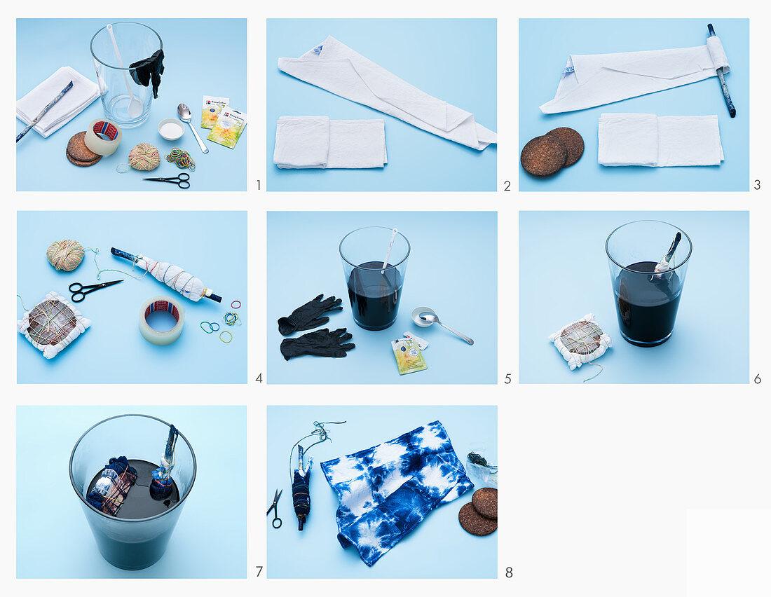 Instructions: dyeing a tea towel using the Shibori technique