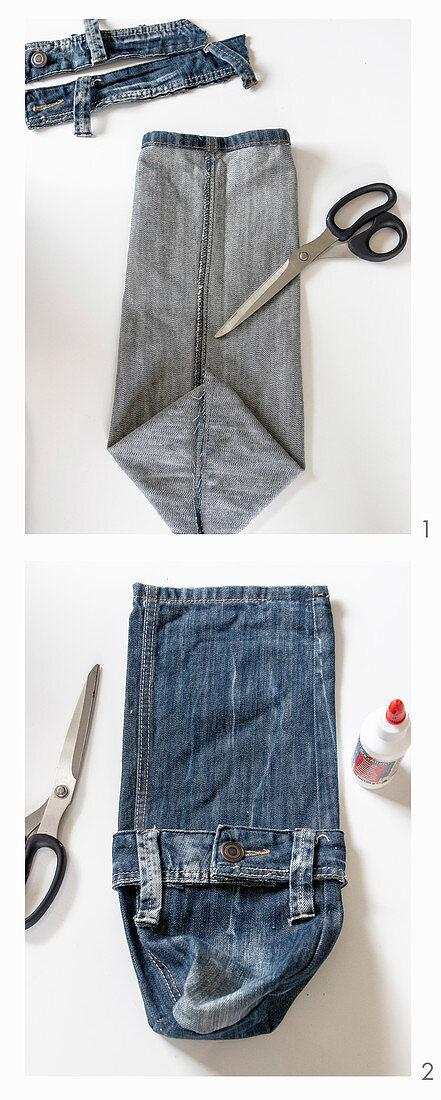 Upcycling: Flaschenverpackung aus Jeanshose herstellen