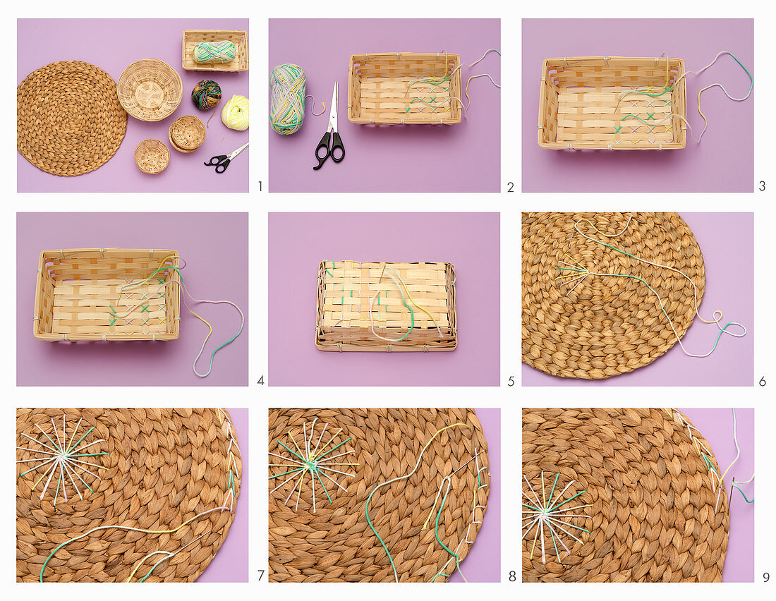 Decorating a placemat and wicker basket with wool