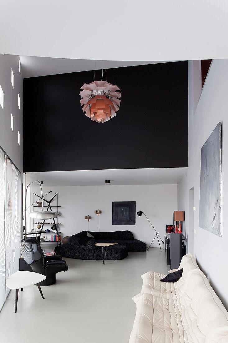 Modern, designer-style, open-plan, monochrome interior