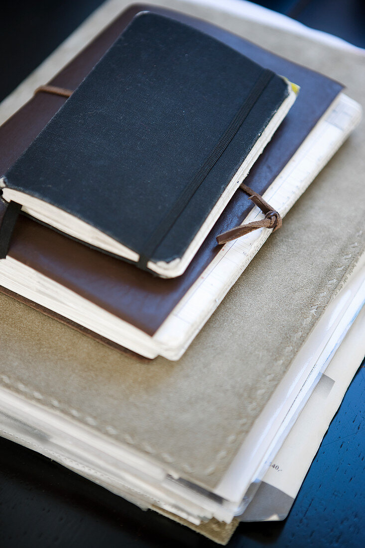 Leather folder and notebooks