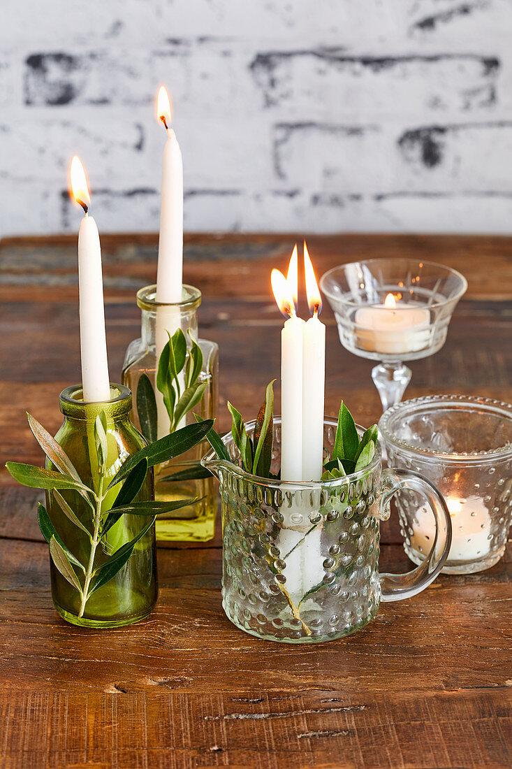 Arrangement of candles for a Mediterranean buffet