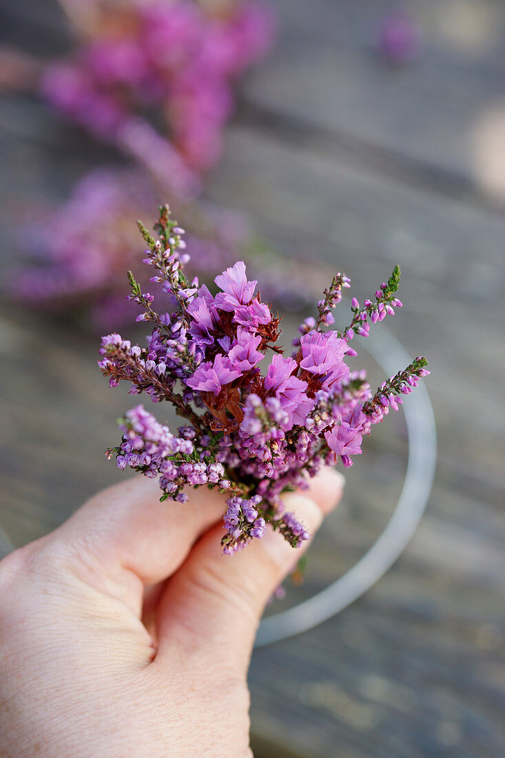 Bouquets of broom heather and sea lavender