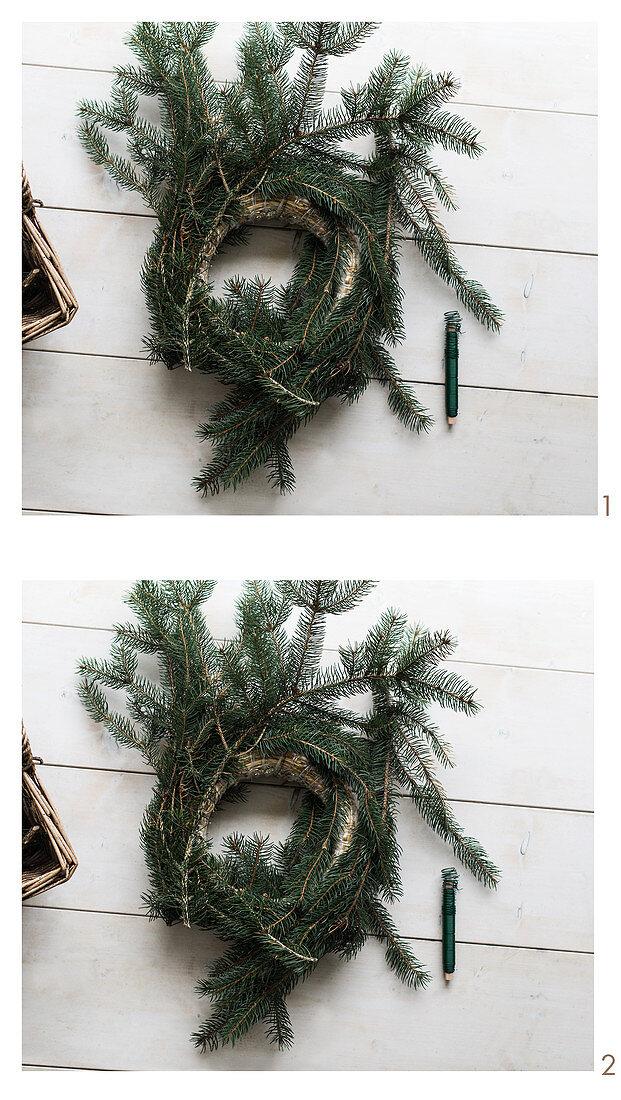 Making a fir-branch wreath