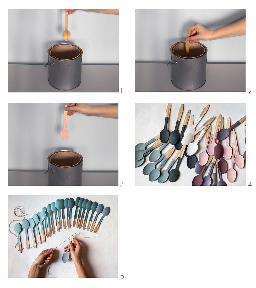 Instructions for making a garland of painted wooden spoons