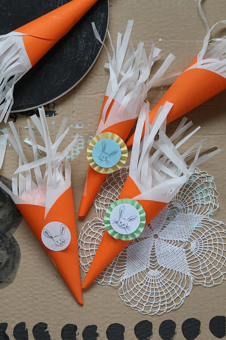 Handmade cones with fringes and Easter bunnies