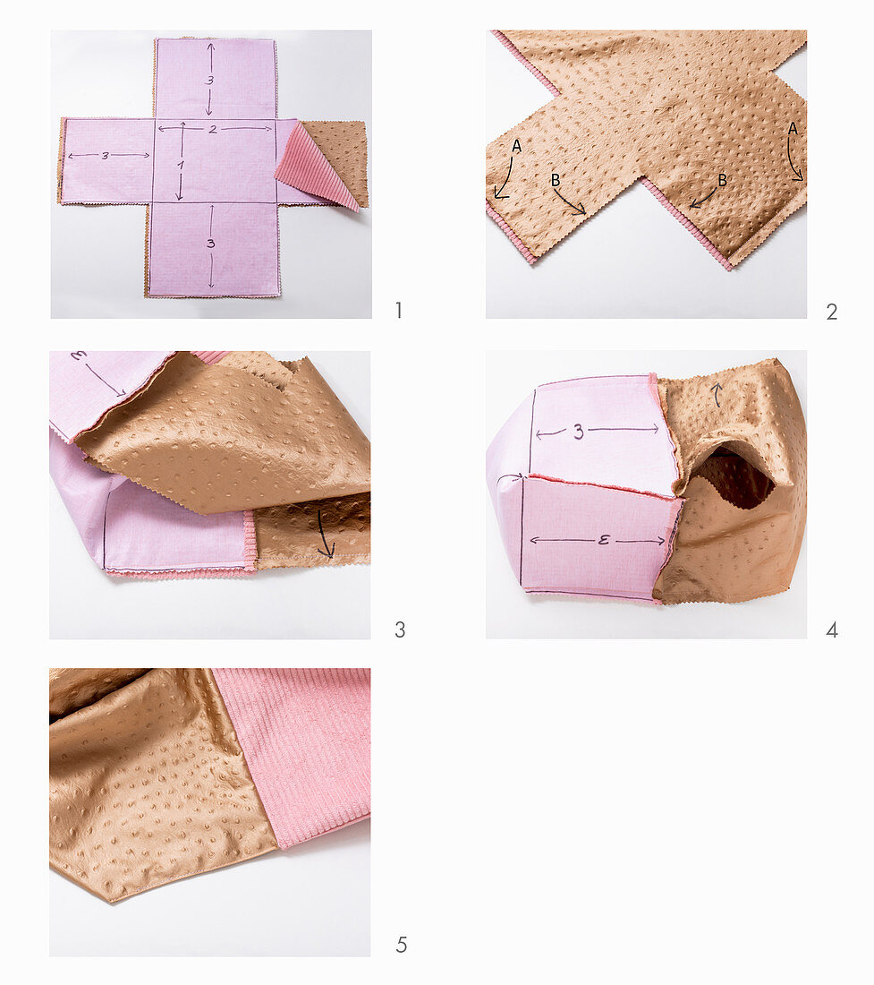Instructions for making corduroy basket with leather lining