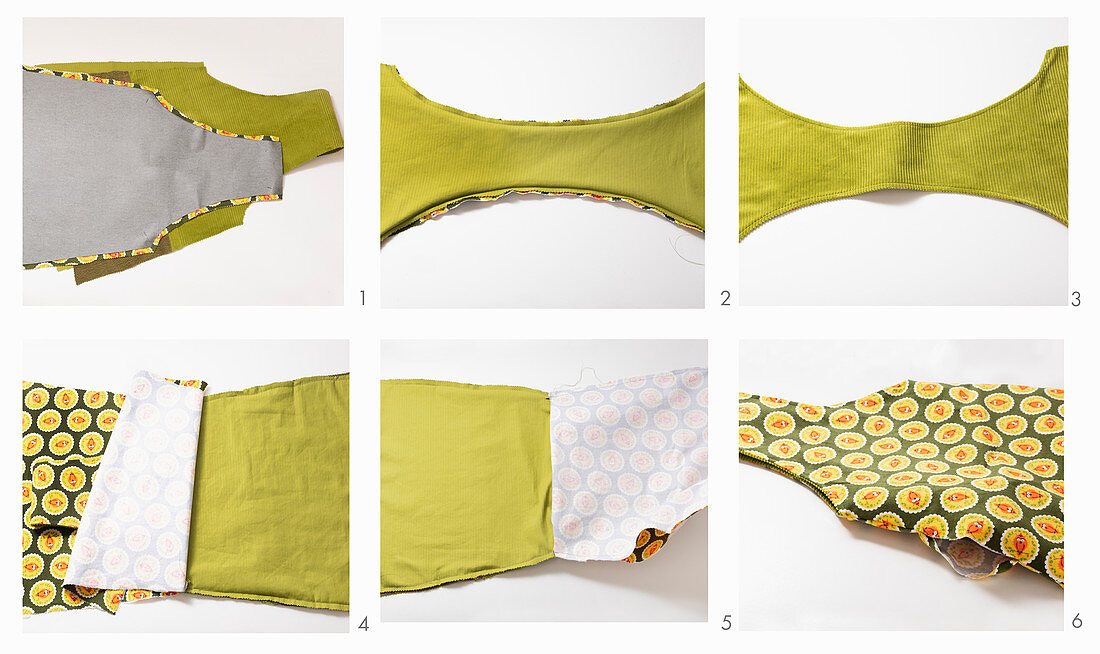 Instructions for making green corduroy bag with contrasting lining