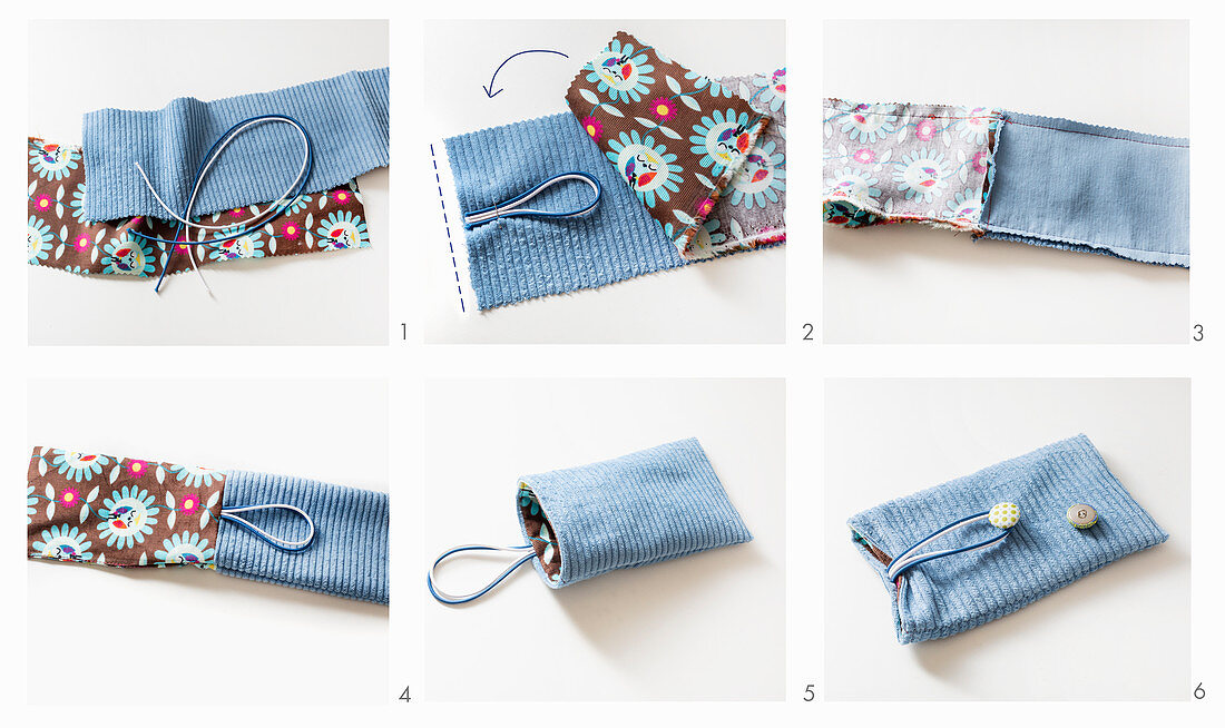 Instructions for making blue corduroy mobile phone case with contrasting lining