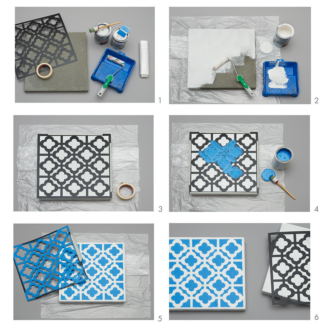 Instructions for painting concrete slab with ornamental pattern