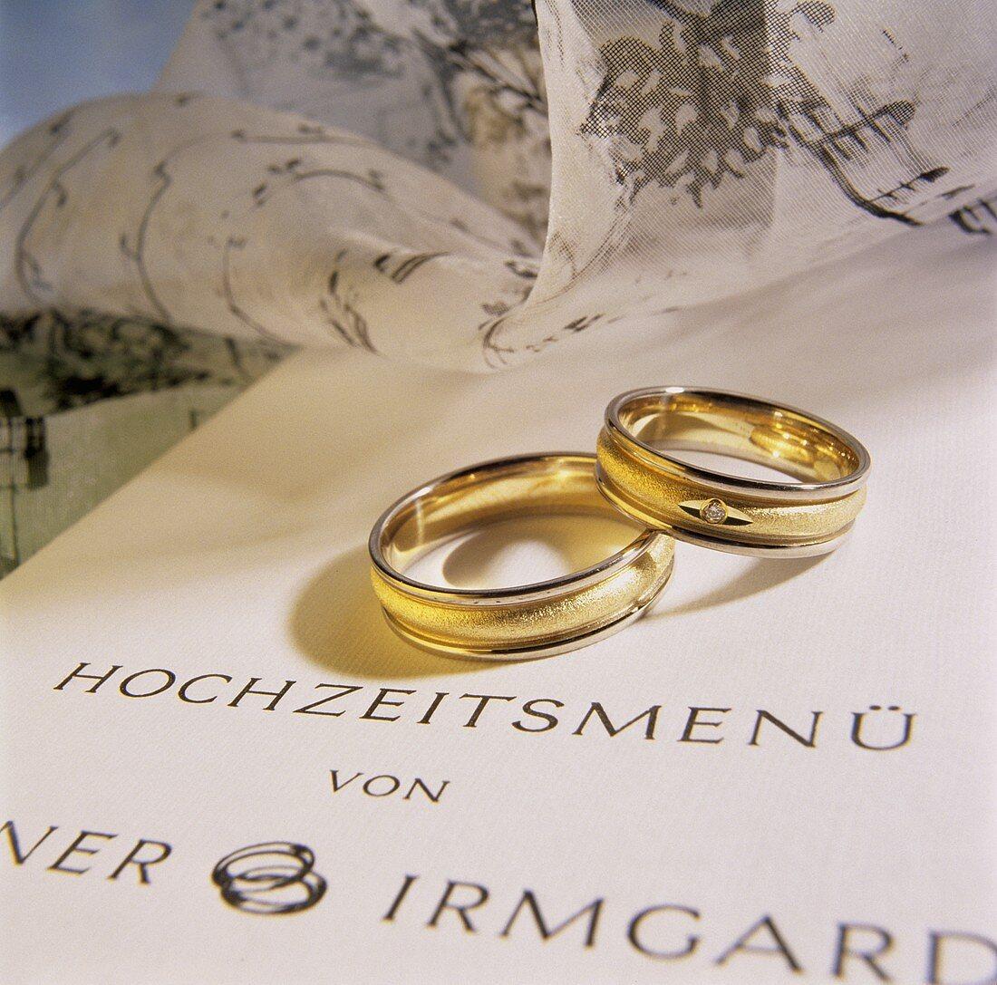 Wedding menu and wedding rings