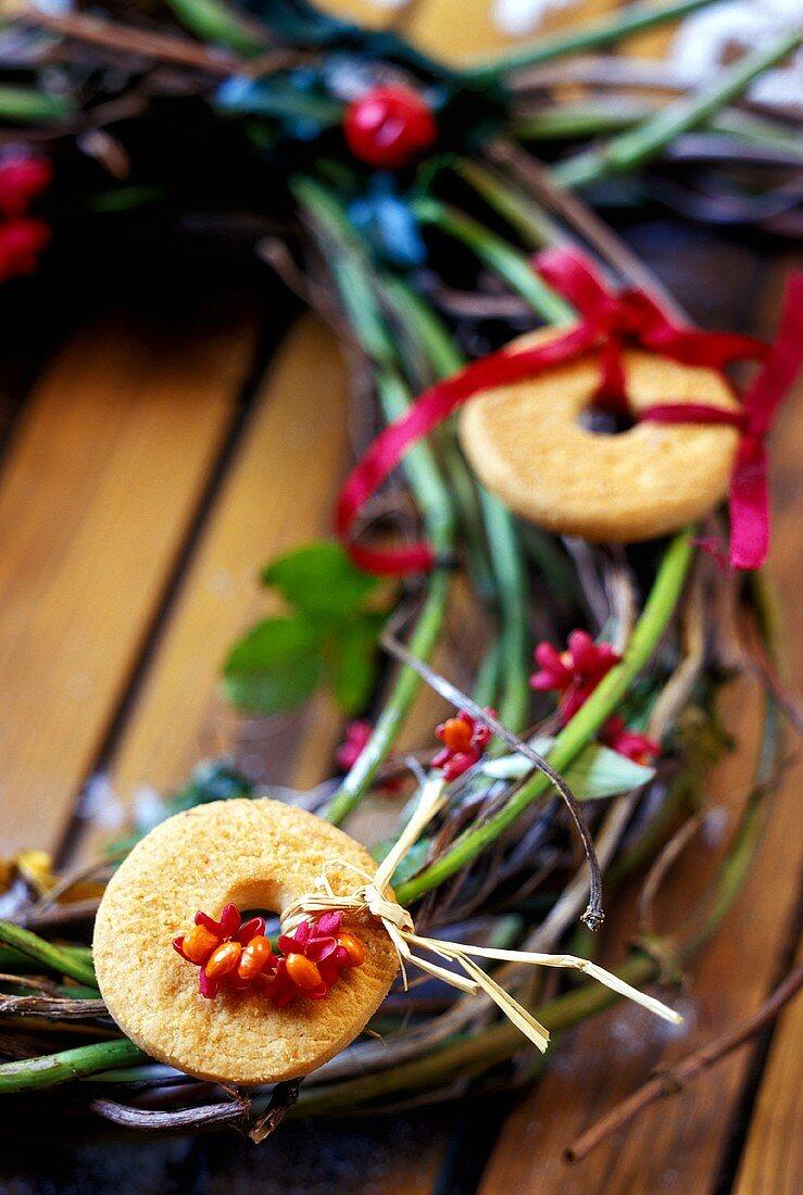 Door wreath with baking for Twelfth Night