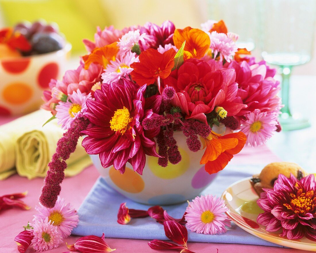 Colourful arrangement of dahlias and Amaranthus